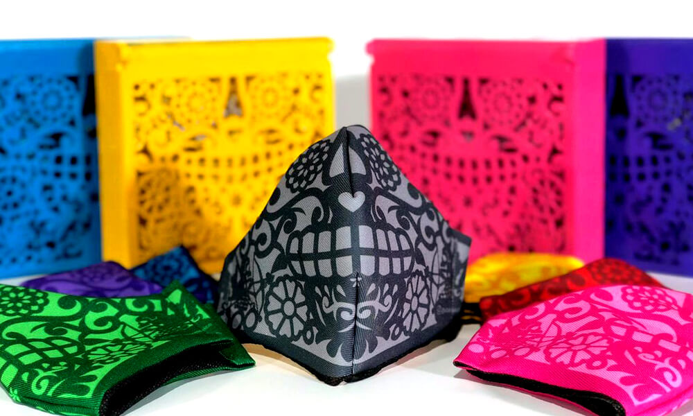 Cubrebocas mexicanos de calaveras hecho por taller El Volador